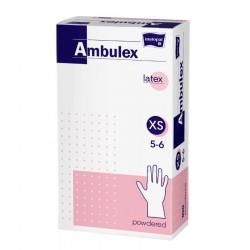 Rękawiczki lateksowe ochronne Ambulex P, białe