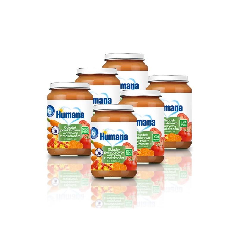 6x Obiadek Humana pomidorowo-warzywny z makaronem, 100% ORGANIC, po 6. miesiącu