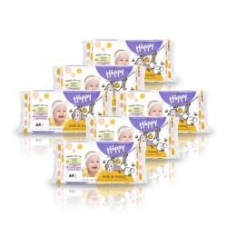6x Chusteczki nasączone Bella Baby Happy Mleko i Miód 64 szt.