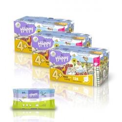 3x Pieluszki Happy New Flexi Fit Maxi Plus 124 szt. BOX + GRATIS Chusteczki Happy