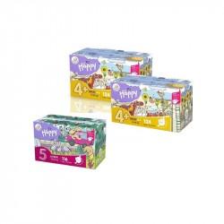 2x Pieluszki Happy Maxi Plus BOX 124szt. + 1x Pieluszki Happy Junior BOX 116szt.