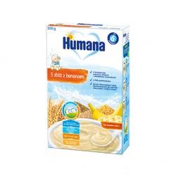 Kaszka Humana mleczna 5 zbóż, z bananami, po 6. miesiącu