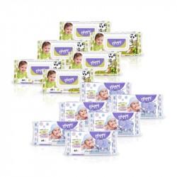 6x Chusteczki Happy z wit. E i alantoiną 64 szt. + 6x Chusteczki Happy z wyciągiem z migdała i liści oliwek 64 szt.
