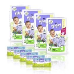 Zapas na miesiąc - 4x Pieluszki Happy Maxi 66 szt. + 5x Chusteczki nawilżane Happy