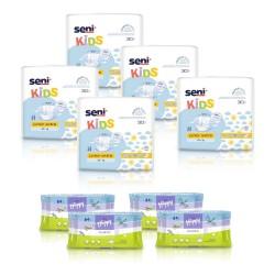 5x Pieluchomajtki dla dzieci Seni Kids Junior Extra 30 szt. + 4x Chusteczki nawilżane Happy Classic z wit. E i alantoiną 64 szt.