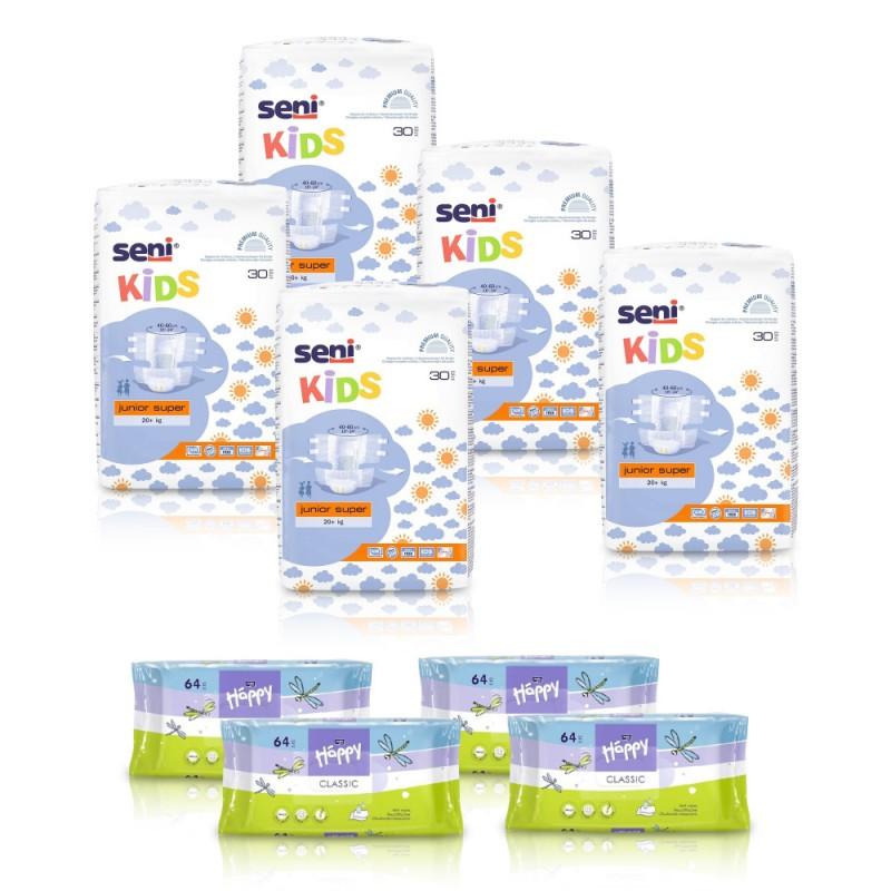 5x Pieluchomajtki dla dzieci Seni Kids Junior Super 30 szt. + 4x Chusteczki nawilżane Happy Classic z wit. E i alantoiną  64 szt