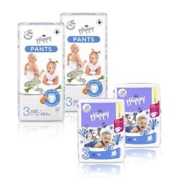 2x Pieluszki dla dzieci Happy Midi (3) 5-9 kg 72 szt. + 2x Pieluchomajtki dla dzieci Happy Pants Midi 6-11 kg 48 szt.
