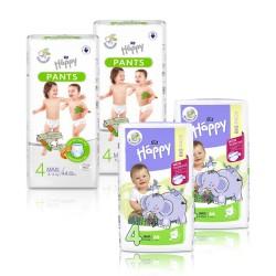 2x Pieluszki dla dzieci Happy Maxi (4) 8-18 kg 66 szt.+ 2x Pieluchomajtki dla dzieci Happy Pants Maxi 8-14 kg 44 szt.