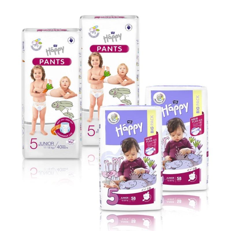 2x Pieluszki dla dzieci Happy Junior (5) 12-25 kg 58 szt. + 2x Pieluchomajtki dla dzieci Happy Pants Junior 11-18 kg 40 szt.