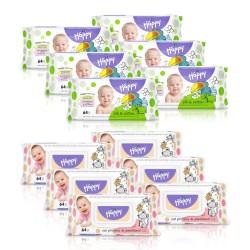 6x Chusteczki nasączone Happy Jedwab i Bawełna + 6x Chusteczki nawilżane Happy z proteinami owsa i panthenolem