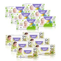 6x Chusteczki nasączone Happy Jedwab i Bawełna + 6x Chusteczki nawilżane Happy z wyciągiem z migdała i liści oliwek