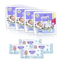 4x Pieluszki Bella Happy 1 Newborn 2-5kg + 4x Chusteczki nawilżane Happy Aqua Care nasączone wodą