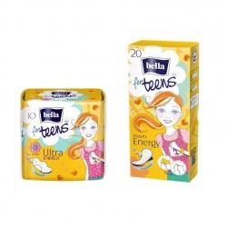 1x Podpaski higieniczne Bella For Teens Ultra Energy 10 szt. + 1x Wkładki higieniczne Bella For Teens Energy 20szt.